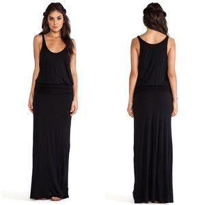 Soft joie black sleeveless maxi dress ruched waist